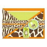 Boy Monkey Jungle Safari Baby Shower 5x7 Paper Invitation Card