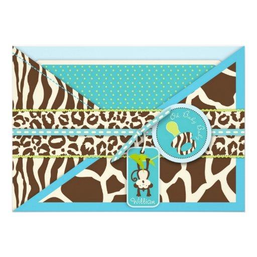 Boy Monkey Jungle Safari Baby Shower Custom Announcements