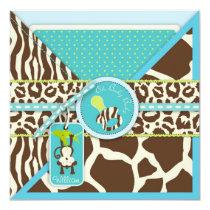 Boy Monkey Jungle Safari Baby Shower Invitation
