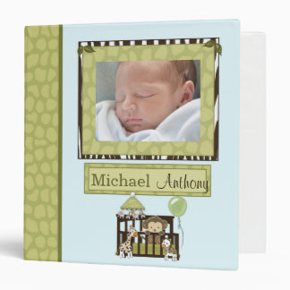 Boy MONKEY Jungle Safari Crib 1.5in Baby Album Vinyl Binders