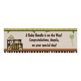 Boy MONKEY Jungle Safari Crib Baby Shower Banner A Poster