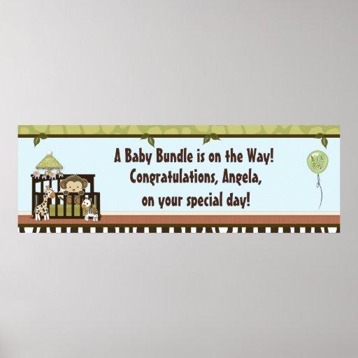 Boy MONKEY Jungle Safari Crib Baby Shower Banner B Print