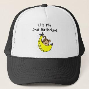 Boy Monkey On Banana 2nd Birthday Trucker Hat