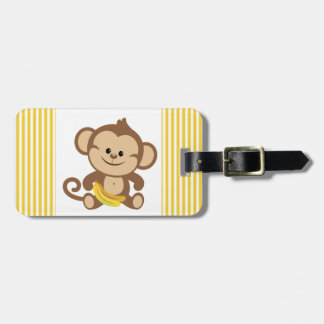 Boy Monkey With Banana Tags For Bags