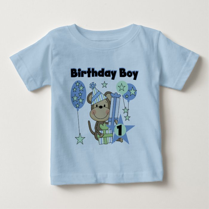 Baby Boy Gifts For 1st Birthday : Boy monkey with gifts st birthday baby t shirt zazzle