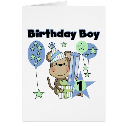 Boy Monkey With Gifts 1st Birthday Greeting Card