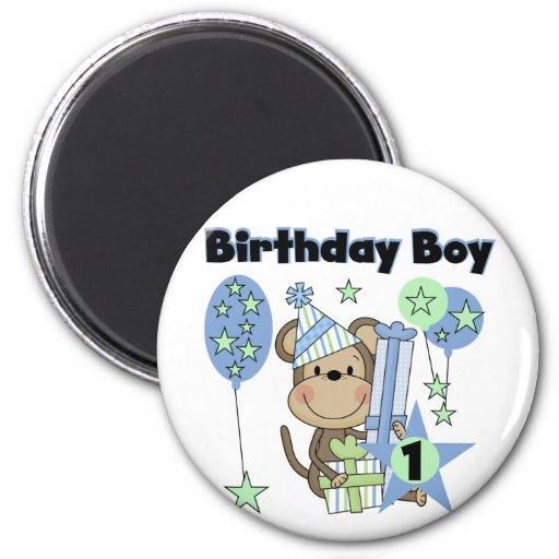 Boy Monkey With Gifts 1st Birthday Magnet