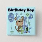 Boy Monkey With Gifts 1st Birthday Pinback Button