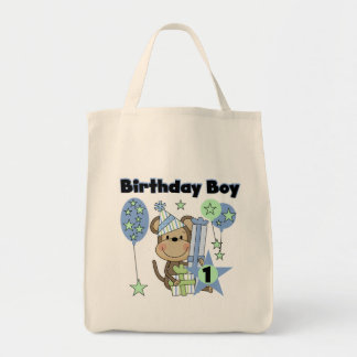 Boy Monkey With Gifts 1st Birthday Tote Bag