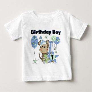 Boy Monkey With Gifts 1st Birthday Tee Shirts