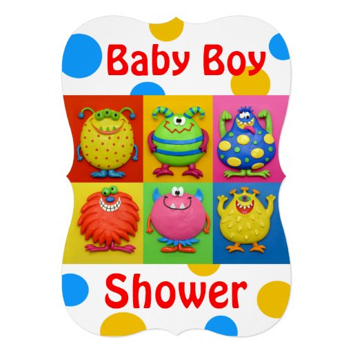 Boy Monster Baby Shower Personalized Announcement