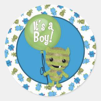 BOY MONSTER Peek a Boo Baby It s a Boy PABC 5 Sticker