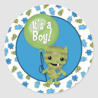 BOY MONSTER Peek a Boo Baby It's a Boy PABC #5 Classic Round Sticker