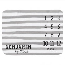 Boy Monthly Milestone Modern Trendy Gray Stripe Baby Blanket