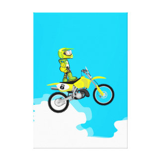 Boy mounting its motocross in the air canvas print