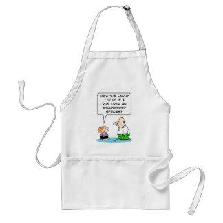 boy mow lawn endangered species adult apron
