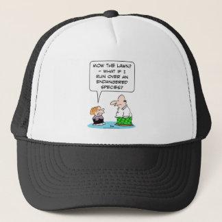 boy mow lawn endangered species trucker hat