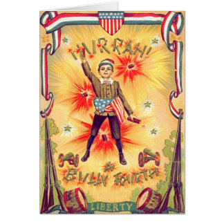Boy Musket Drum Cannon USA Flag Fireworks Card