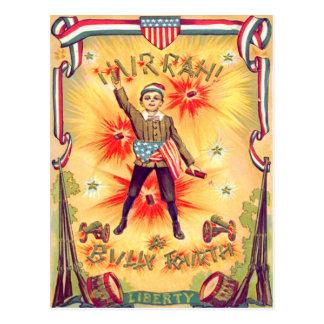 Boy Musket Drum Cannon USA Flag Fireworks Postcard