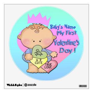 Boy My 1st Valentine's Day Round Wall Decal