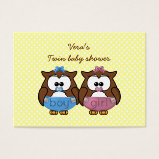 boy 'n girl baby owl business card