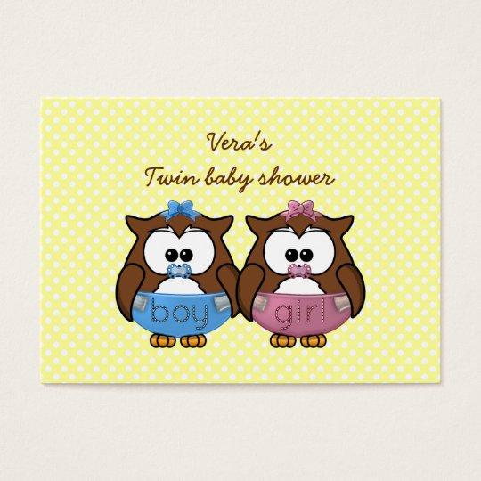 boy 'n girl baby owl business card
