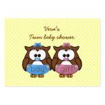 boy 'n girl baby owl business card template