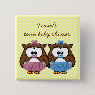 boy 'n girl baby owl button