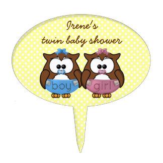 boy 'n girl baby owl cake topper