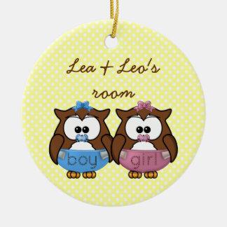 boy 'n girl baby owl ceramic ornament
