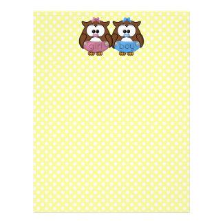 boy 'n girl baby owl customized letterhead