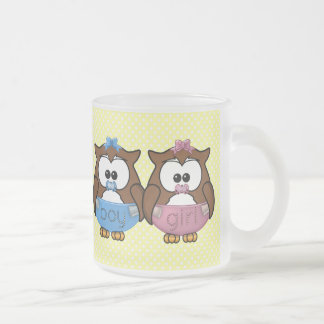 boy 'n girl baby owl frosted glass coffee mug