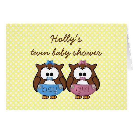 boy 'n girl baby owl greeting card