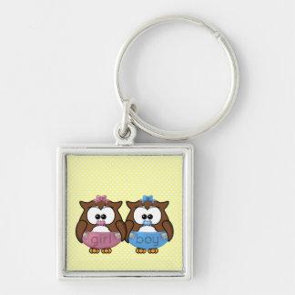 boy 'n girl baby owl keychain