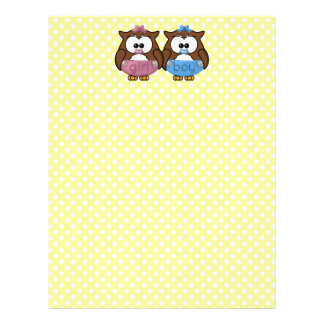 boy 'n girl baby owl letterhead