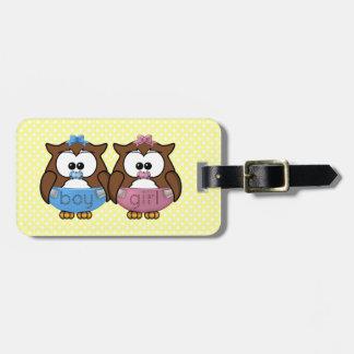 boy 'n girl baby owl luggage tag