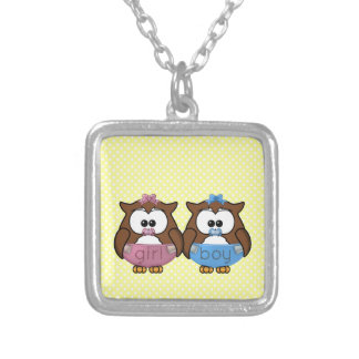 boy 'n girl baby owl personalized necklace