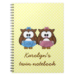 boy 'n girl baby owl notebook