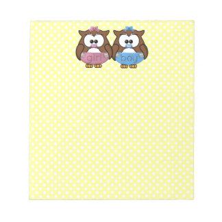 boy 'n girl baby owl notepad