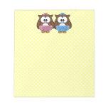 boy 'n girl baby owl notepads