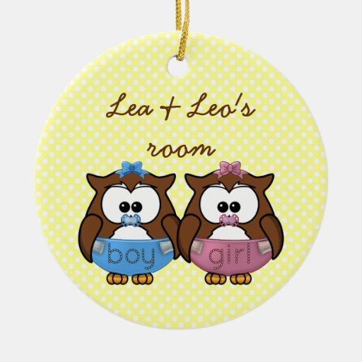 boy 'n girl baby owl ornaments