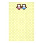 boy 'n girl baby owl personalized stationery