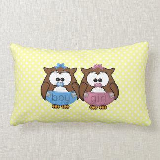 boy 'n girl baby owl throw pillows