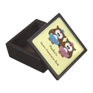 boy 'n girl baby owl premium keepsake boxes