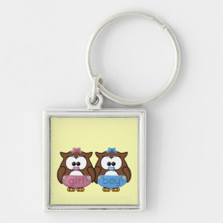 boy 'n girl baby owl Silver-Colored square keychain