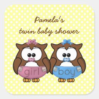 boy 'n girl baby owl square sticker