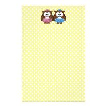 boy 'n girl baby owl stationery