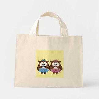 boy 'n girl baby owl tote bag