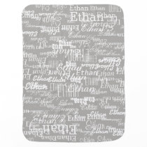 boy name pattern on gray personalized baby blanket