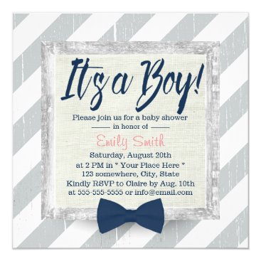 Toddler & Baby themed Boy Navy Blue Bow Tie Grey Stripes Baby Shower Card